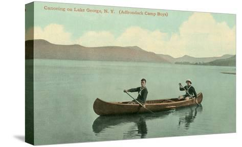 Canoing on Lake George, New York State--Stretched Canvas Print