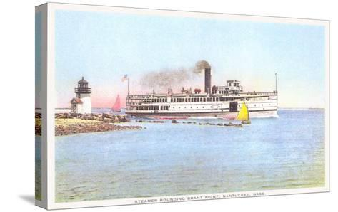 Steamer Rounding Brant Point, Nantucket, Massachusetts--Stretched Canvas Print