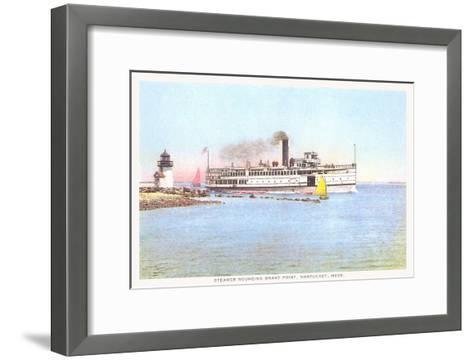 Steamer Rounding Brant Point, Nantucket, Massachusetts--Framed Art Print