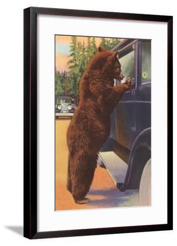Bear at Car Window--Framed Art Print