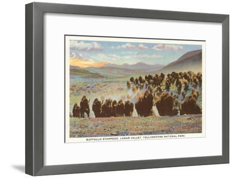 Buffalo Stampede, Yellowstone National Park--Framed Art Print