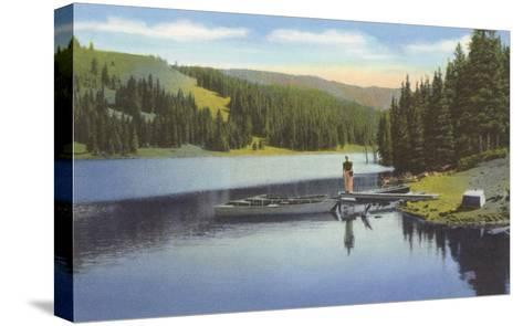 Boat Dock on Lake in Northwest--Stretched Canvas Print