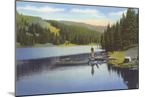 Boat Dock on Lake in Northwest--Mounted Art Print
