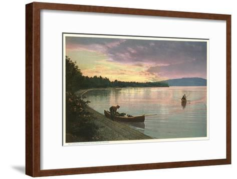 Canoing on Lake at Sunset--Framed Art Print