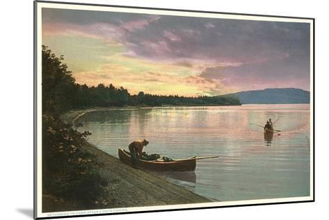 Canoing on Lake at Sunset--Mounted Art Print