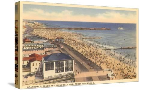 Beach and Boardwalk, Coney Island, New York City--Stretched Canvas Print