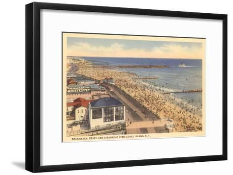 Beach and Boardwalk, Coney Island, New York City--Framed Art Print
