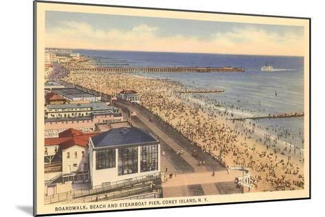 Beach and Boardwalk, Coney Island, New York City--Mounted Art Print