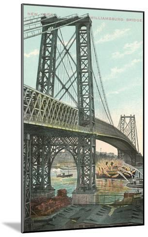Boat on Fire under Williamsburg Bridge, New York City--Mounted Art Print