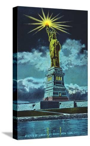 Statue of Liberty at Night, New York Harbor--Stretched Canvas Print