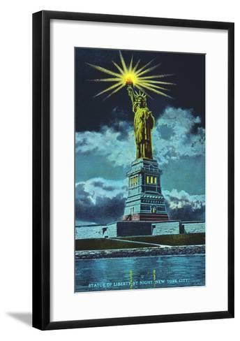 Statue of Liberty at Night, New York Harbor--Framed Art Print