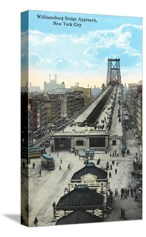 Williamsburg Bridge Approach, New York City--Stretched Canvas Print