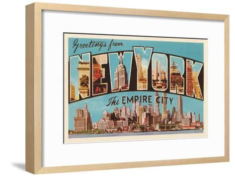 Greetings from New York, the Empire City--Framed Art Print