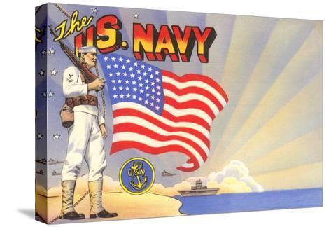 U.S. Navy Sailor with Flag and Ship--Stretched Canvas Print