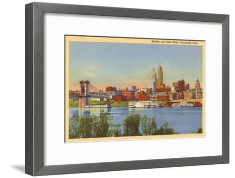 Skyline and Ohio River, Cincinnati, Ohio--Framed Art Print