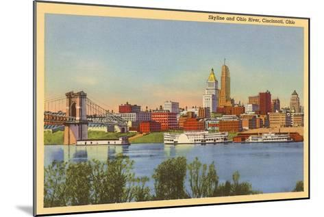 Skyline and Ohio River, Cincinnati, Ohio--Mounted Art Print