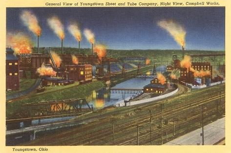 Night, Factories, Youngstown, Ohio--Stretched Canvas Print