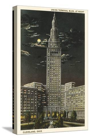 Moon over Union Terminal, Cleveland, Ohio--Stretched Canvas Print