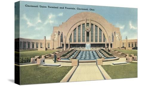 Cincinnati Union Terminal and Fountain, Cincinnati, Ohio--Stretched Canvas Print