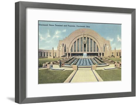 Cincinnati Union Terminal and Fountain, Cincinnati, Ohio--Framed Art Print