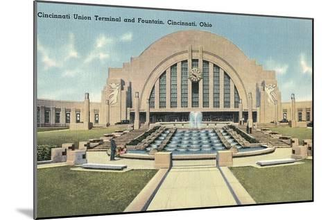 Cincinnati Union Terminal and Fountain, Cincinnati, Ohio--Mounted Art Print