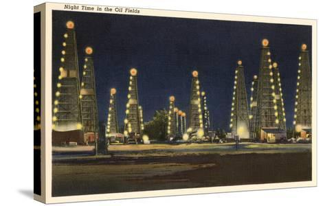 Night in the Oil Fields, Oklahoma--Stretched Canvas Print