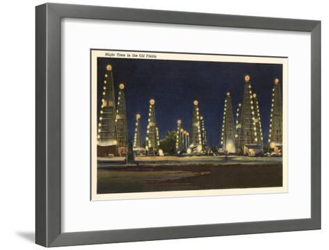 Night in the Oil Fields, Oklahoma--Framed Art Print