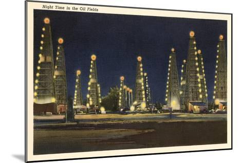 Night in the Oil Fields, Oklahoma--Mounted Art Print
