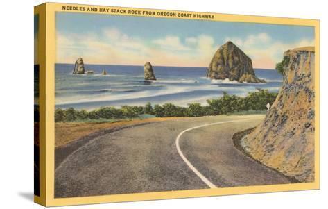 Needles and Haystack Rocks, Oregon Coastal Highway--Stretched Canvas Print