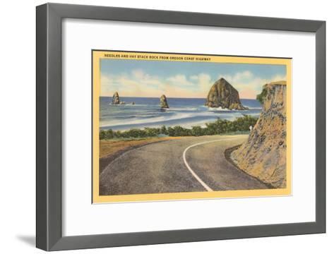 Needles and Haystack Rocks, Oregon Coastal Highway--Framed Art Print