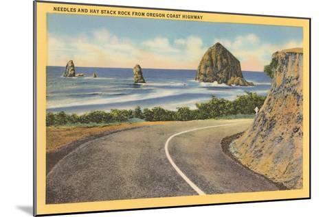 Needles and Haystack Rocks, Oregon Coastal Highway--Mounted Art Print