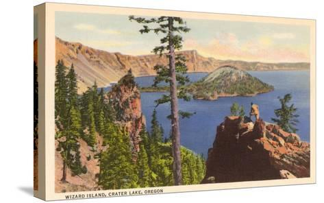 Wizard Island, Crater Lake, Oregon--Stretched Canvas Print