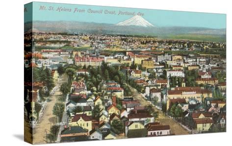 Mt. St. Helens over Portland, Oregon--Stretched Canvas Print