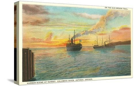 Astoria Harbor at Sunset, Oregon--Stretched Canvas Print