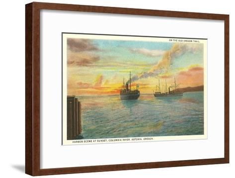 Astoria Harbor at Sunset, Oregon--Framed Art Print