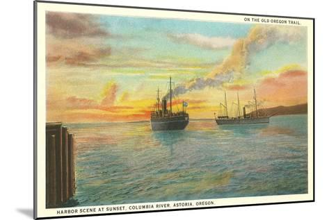 Astoria Harbor at Sunset, Oregon--Mounted Art Print