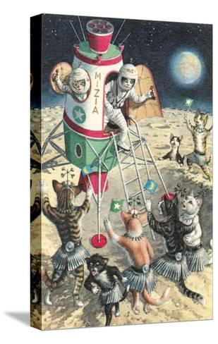 Cat Astronauts Landing on Female Cat Planet--Stretched Canvas Print