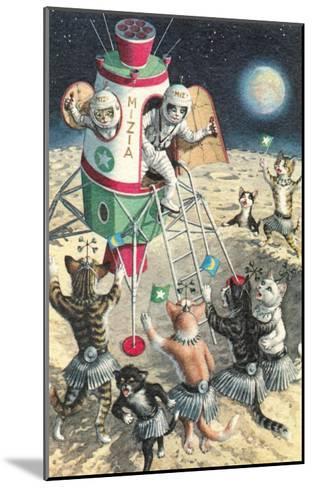 Cat Astronauts Landing on Female Cat Planet--Mounted Art Print