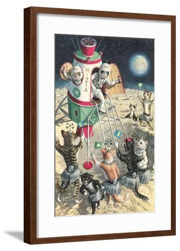 Cat Astronauts Landing on Female Cat Planet--Framed Art Print