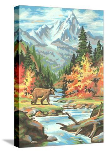 Paint by Numbers, Bear Scene--Stretched Canvas Print