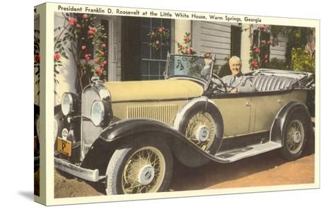 Franklin Roosevelt in Vintage Car, Warm Springs, Georgia--Stretched Canvas Print
