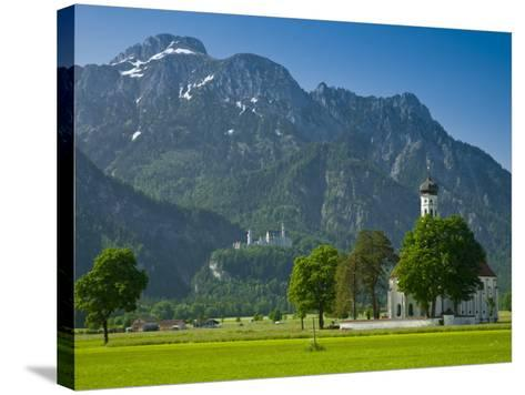 Germany, Bavaria (Bayern), Neuschwanstein Castle and Kolomanskirche-Alan Copson-Stretched Canvas Print