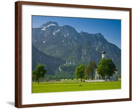 Germany, Bavaria (Bayern), Neuschwanstein Castle and Kolomanskirche-Alan Copson-Framed Art Print