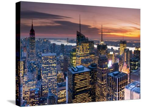 USA, New York, Manhattan, Empire State Building and Midtown from the Rockefeller Center-Alan Copson-Stretched Canvas Print