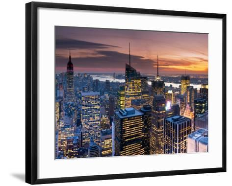 USA, New York, Manhattan, Empire State Building and Midtown from the Rockefeller Center-Alan Copson-Framed Art Print
