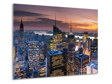 USA, New York, Manhattan, Empire State Building and Midtown from the Rockefeller Center-Alan Copson-Metal Print