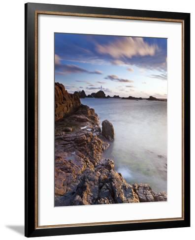 Corbiere Lighthouse at Sunset, Jersey, Channel Islands, UK-Gavin Hellier-Framed Art Print