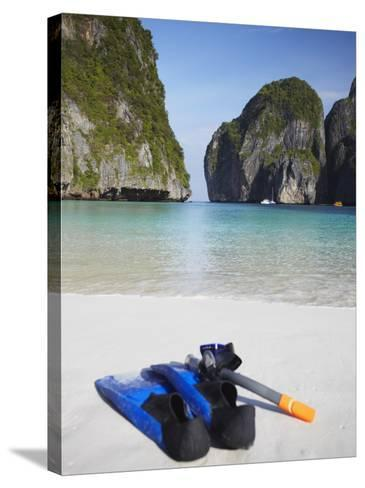 Snorkelling Equipment on Beach, Ao Maya, Ko Phi Phi Leh, Thailand-Ian Trower-Stretched Canvas Print