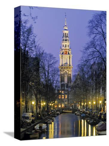 Zuiderkerkand Canal at Night, Amsterdam, Holland-Jon Arnold-Stretched Canvas Print