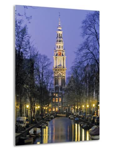 Zuiderkerkand Canal at Night, Amsterdam, Holland-Jon Arnold-Metal Print